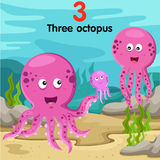 Illustrator of number with three octopus Royalty Free Stock Photo