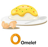 Illustrator of o font with omelet Stock Image