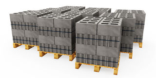Illustrator of pallets of concrete blocks on a white backgrou. 3d illustrator of pallets of concrete blocks on a white background Stock Image