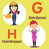 Illustrator of professional character genrdener and hairdresser Royalty Free Stock Photography
