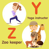 Illustrator of professional character yoga instructor and zoo keeper Stock Photography