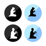 Sign for muslim man and woman prayer icon. Illustrator-Sign for muslim man and woman prayer icon Stock Images