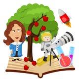 Illustrator of Sir Isaac Newton stock illustration