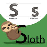 Illustrator of sloth with s font Stock Photos