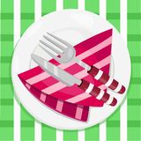Illustrator of Spoon and knife on the napkins Royalty Free Stock Images