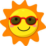 Illustrator of sun with sunglasses Royalty Free Stock Image