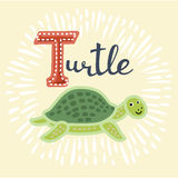 Illustrator of T exercise. cartoon vocabulary. Vector illustration of turtle. B letter. Funny cartoon cute children animal in vector Stock Photo