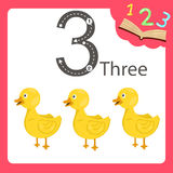Illustrator of three number animal. For education royalty free illustration