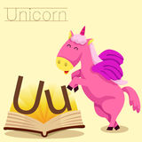 Illustrator of U for Unicorn vocabulary Royalty Free Illustration