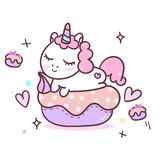 Illustrator of Unicorn cartoon in cupcake land