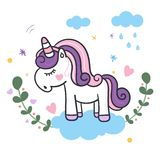 Illustrator of Unicorn cartoon vector illustration