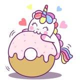 Illustrator van de Leuke kaart van de de cake Gelukkige verjaardag van de Eenhoorn vectordoughnut, Kawaii-poneybeeldverhaal, Krab stock illustratie