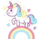 Illustrator van Leuke Unicorn Vector-regenbooginzameling met sterbeeldverhaal royalty-vrije illustratie