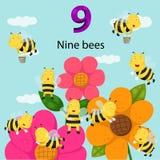 Illustrator van nummer negen bijen royalty-vrije illustratie