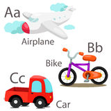 Illustrator for vehicles set 1 with Airplane bike and car Stock Photos