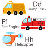Illustrator for vehicles set 2 with Dump Truck, fire engine, helicopter. Cute and education Royalty Free Stock Image
