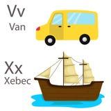 Illustrator of vehicles set five with van and xebec Stock Photos
