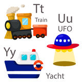 Illustrator for vehicles set 4 with Train, UFO and yacht Stock Image