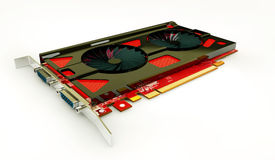 Illustrator of video card with two outputs  Stock Photo