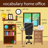 Illustrator of vocabulary home office vector illustration
