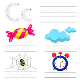 Illustrator of Worksheet for children c font. For education royalty free illustration