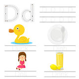 Illustrator of Worksheet for children d font. For education vector illustration