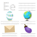 Illustrator of Worksheet for children e font. For education vector illustration
