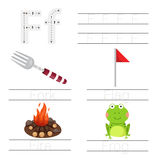 Illustrator of Worksheet for children f font. For education stock illustration