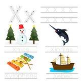 Illustrator of Worksheet for children x font. For education Stock Images