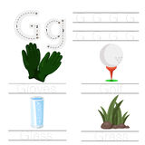 Illustrator of Worksheet for children g font. For education vector illustration