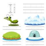 Illustrator of Worksheet for children i font. For education Stock Image