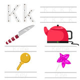 Illustrator of Worksheet for children k font. For education royalty free illustration