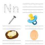 Illustrator of Worksheet for children n font. For education royalty free illustration