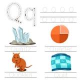 Illustrator of Worksheet for children q font. For education Royalty Free Stock Photos
