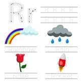 Illustrator of Worksheet for children r font. For education Stock Photography