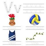 Illustrator of Worksheet for children v font. For education Royalty Free Stock Photos