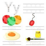 Illustrator of Worksheet for children y font. For education Royalty Free Stock Photos
