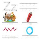 Illustrator of Worksheet for children z font. For education Stock Image