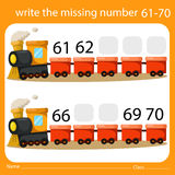 Illustrator of write the missing number 61-70 Royalty Free Stock Photography