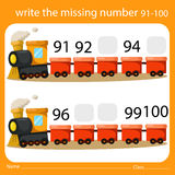 Illustrator Write the missing number 91-100. Isolated stock illustration