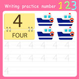 Illustrator Write practice number 4 Stock Images