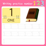 Illustrator Write practice number 1. Isolated royalty free illustration