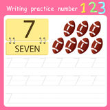 Illustrator Write practice number 7 Stock Image