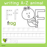 Illustrator of writing a-z animal f. Isolated for education Stock Photo