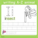 Illustrator of writing a-z animal i. Isolated for education Stock Photo