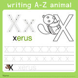 Illustrator of writing a-z animal x. Isolated for education Royalty Free Stock Images