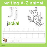 Illustrator of writing a-z animal j. Isolated for education Royalty Free Stock Photos