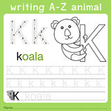 Illustrator of writing a-z animal k. Isolated for education Royalty Free Stock Photography