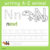 Illustrator of writing a-z animal n. Isolated for education Royalty Free Stock Photo