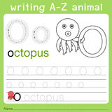 Illustrator of writing a-z animal o. Isolated for education royalty free illustration
